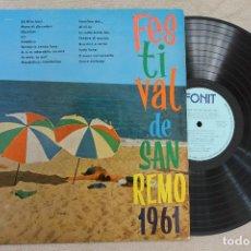 Discos de vinilo: FESTIVAL DE SAN REMO 1961 LP VINYL MADE IN SPAIN 1961. Lote 107313875