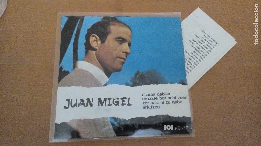 JUAN MIGEL EP HERRI GOGOA 1969 AIZEAN DABILLA (BLOWIN IN THE WIND DYLAN) +3 CON LETRAS ¡¡DIFICIL¡¡ (Música - Discos de Vinilo - EPs - Country y Folk)