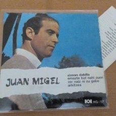 Discos de vinilo: JUAN MIGEL EP HERRI GOGOA 1969 AIZEAN DABILLA (BLOWIN IN THE WIND DYLAN) +3 CON LETRAS ¡¡DIFICIL¡¡. Lote 171142453