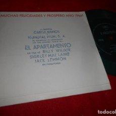 Discos de vinilo: EL APARTAMENTO BSO OST WILLIAMS&DEUTSCH 7 SINGLE FLEXI 1963 MUNDIAL FILMS/GARCIA RAMOS PROMO VERDE. Lote 107548155