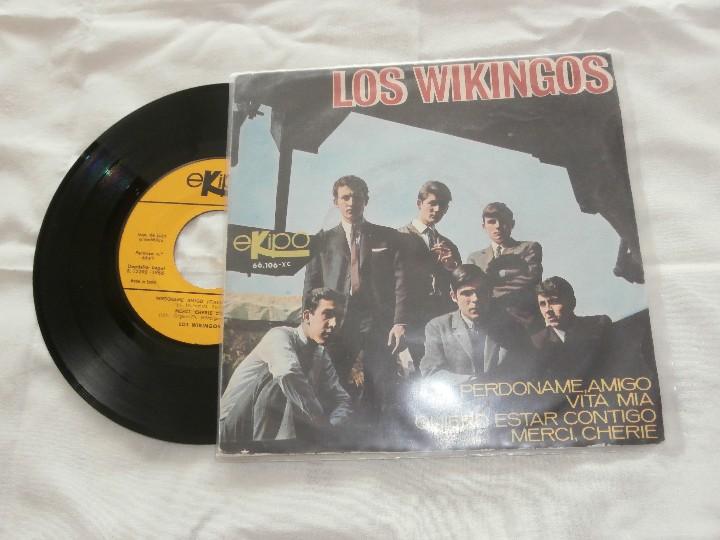Discos de vinilo: LOS WIKINGOS 7´EP PERDONAME AMIGO + 3 (1966) *COMO NUEVO* - Foto 2 - 107557015