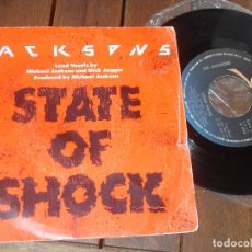 Discos de vinilo: JACKSONS MICHAEL JACKSON MICK JAGGER SINGLE STATE OF SHOCK. MADE IN SPAIN. 1984. Lote 107716599