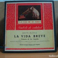 Discos de vinilo: MANUEL DE FALLA - LA VIDA BREVE / RECITAL DE CANTO VICTORIA DE LOS ANGELES - LA VOZ DE SU AMO - 2XLP. Lote 107728191