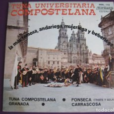 Discos de vinilo: TUNA UNIVERSITARIA COMPOSTELANA EP MIRMAN'S 1975 - GRANADA/ FONSECA/ CARRASCOSA +1 TUNAS. Lote 107768463