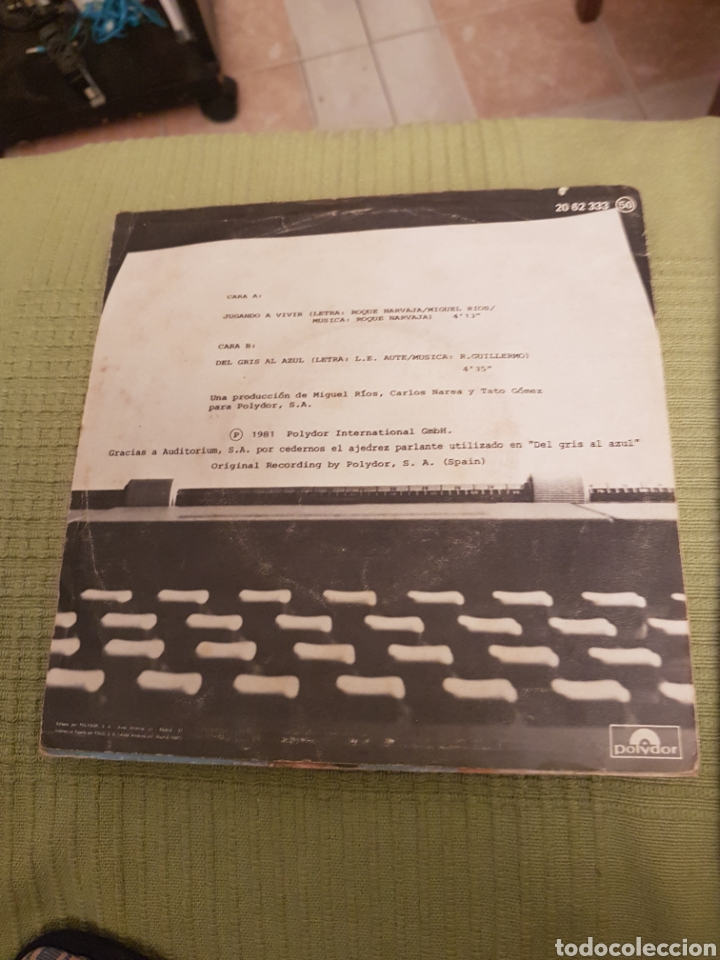 Discos de vinilo: MIGUEL RIOS - JUGANDO A VIVIR / DEL GRIS AL AZUL - SINGLE - Foto 2 - 107846795