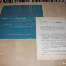 Discos de vinilo: LUIS EDUARDO AUTE -LP- EL UNIVERSO DE... 80'S PROMO + HOJAS RADIO PROMO. Lote 107918803