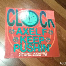 Discos de vinilo: CLOCK-AXEL F,KEEP PUSHING.MAXI. Lote 107926839