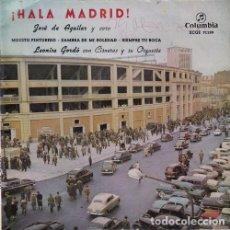 Discos de vinilo: JOSE DE AGUILAR - HALA MADRID - PRIMERA EDICION DEL HIMNO OFICIAL DEL REAL MADRID EP DE VINILO 1959. Lote 108013531