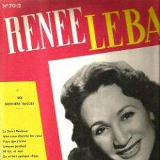 Discos de vinilo: LP 10 PULGADAS : RENEE LEBAS : SES DERNIERS SUCCES . Lote 108124835