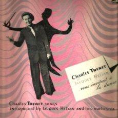 Discos de vinilo: LP 10 PULGADAS : CHARLES TRENET ET JACQUES HELIAN - VOUS INVITENT A LA DANSE . Lote 108126143
