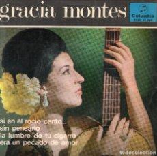 Discos de vinilo: GRACIA MONTES ACOMPAÑADA DE GUITARRAS PACO CEPERO Y EUGENIO CARACOLES - E1965I. Lote 108250631
