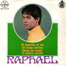 Discos de vinilo: RAPHAEL - EP SINGLE VINILO 7'' - AL PONERSE EL SOL + 3 - EDITADO EN MÉXICO POR GAMMA. Lote 108327079