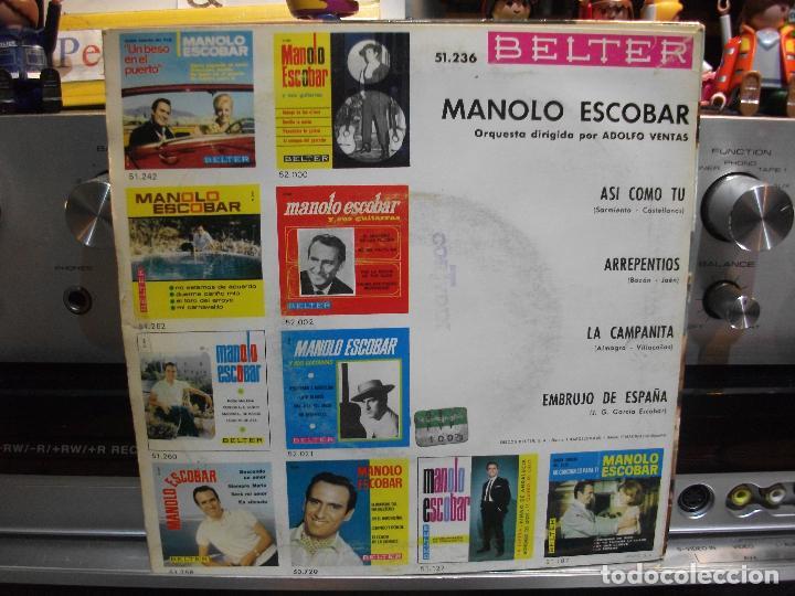 Discos de vinilo: MANOLO ESCOBAR ASI COMO TU / EMBRUJO DE ESP EP SPAIN 1966 PDELUXE - Foto 2 - 108548723