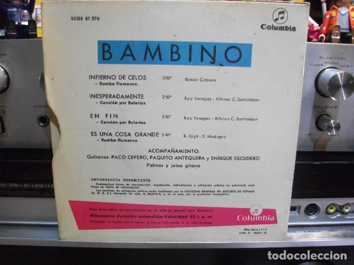 Discos de vinilo: BAMBINO INFIERNO DE CELOS EP SPAIN 1967 PDELUXE - Foto 2 - 108600963