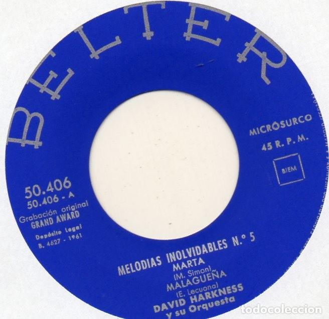 Discos de vinilo: DAVID HARKNESS y su Orquesta, EP, MARTA + 3, AÑO 1961 - Foto 3 - 108773167