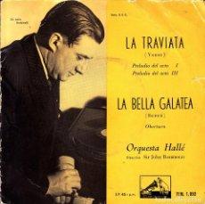 Discos de vinilo: ORQUESTA HALLE DIR. SIR JOHN BARBIROLLI - LA TRAVIATA SPAIN SINGLE. Lote 108802135