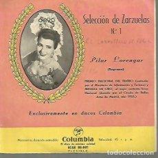 Discos de vinilo: PILAR LORENGAR EP SELLO COLUMBIA EDITADO EN ESPAÑA AÑO 1956. Lote 108843655