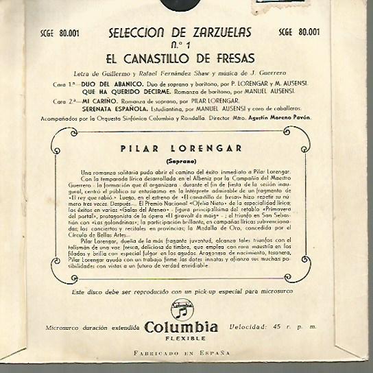 Discos de vinilo: PILAR LORENGAR EP SELLO COLUMBIA EDITADO EN ESPAÑA AÑO 1956 - Foto 2 - 108843655