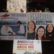 Discos de vinilo: AMERICA ( 3) AUTOPISTA A VENTURA + 2 SINGLE SPAIN 1972 PDELUXE. Lote 108845191