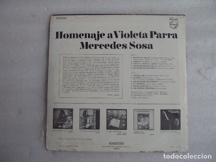 Discos de vinilo: MERCEDES SOSA, HOMENAJE A VIOLETA PARRA, LP EDICION ARGENTINA, PHILIPS PHONOGRAM - Foto 2 - 108886639