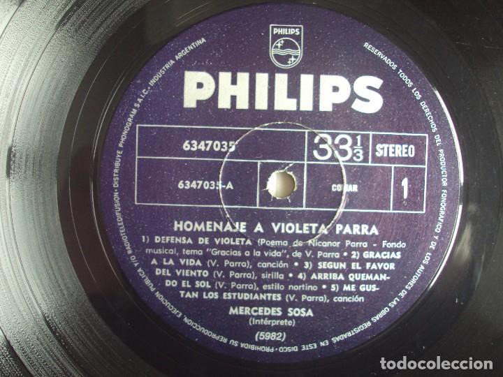 Discos de vinilo: MERCEDES SOSA, HOMENAJE A VIOLETA PARRA, LP EDICION ARGENTINA, PHILIPS PHONOGRAM - Foto 6 - 108886639