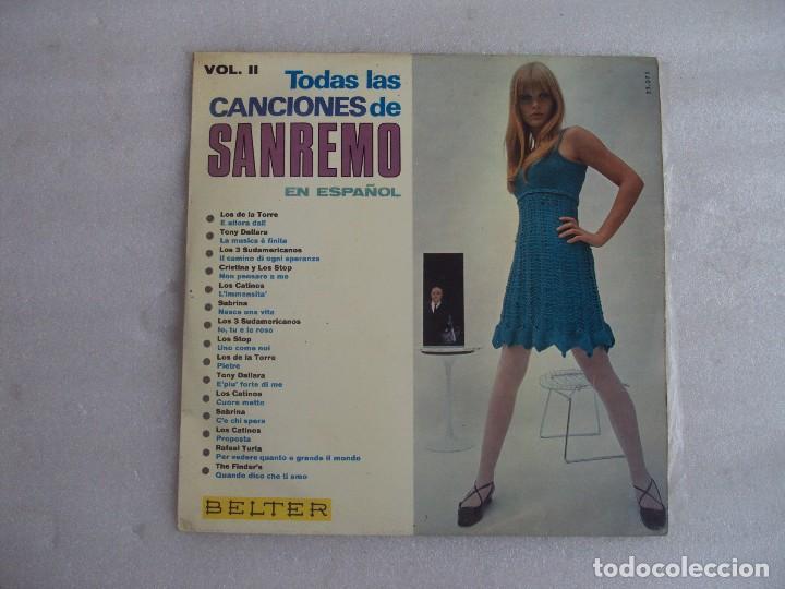 TODAS LAS CANCIONES DE SAN REMO EN ESPAÑOL VOL.2. LP EDICION ESPAÑOLA 1967, BELTER. (Música - Discos - LP Vinilo - Otros Festivales de la Canción)