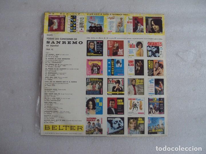 Discos de vinilo: TODAS LAS CANCIONES DE SAN REMO EN ESPAÑOL VOL.2. LP EDICION ESPAÑOLA 1967, BELTER. - Foto 2 - 108887623