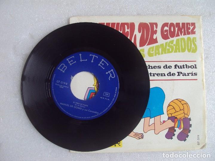 Discos de vinilo: MANUEL DE GOMEZ Y SUS CANSADOS, NOCHES DE FUTBOL. SINGLE EDICION ESPAÑOLA 1969, BELTER. - Foto 3 - 108889687