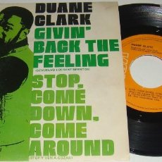 Discos de vinilo: SINGLE - DUANE CLARK - GIVIN' BACK THE FEELING / STOP COME DOWN, COME AROUND - DUANE CLARK. Lote 109078199