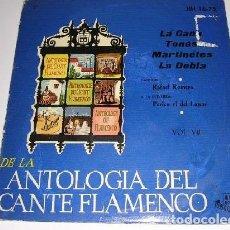 Discos de vinilo: DE LA ANTOLOGÍA DEL ARTE FLAMENCO VOL. VII. Lote 109093279