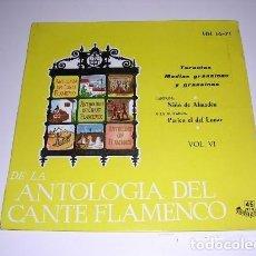 Discos de vinilo: DE LA ANTOLOGÍA DEL ARTE FLAMENCO VOL. VI. Lote 109093535