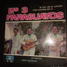 Discos de vinilo: LOS 3 PARAGUAYOS - LA FLOR DE LA CANELA + 3 - EP. Lote 109173103