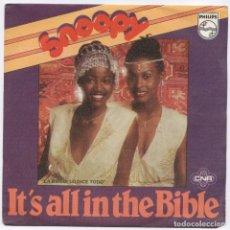 Discos de vinilo: SNOOPY – IT'S ALL IN THE BIBLE_VINILO 7'' SINGLE EDITION ESPAÑOLA_1979_COMO NUEVO!!!. Lote 109173739