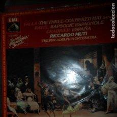 Discos de vinilo: FALLA, THE THREE CORNERED HAT, RAVEL, RAPSODIE ESPAGNOLE, CHABRIER, ESPAÑA. Lote 109192007