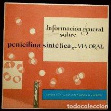 Discos de vinilo: FORMACION SOBRE PENICILINA SINTETICA VIA ORAL (1961) PUBLICIDAD FARMACEÚTICA BENDRALAN FARMACIA. Lote 109213767