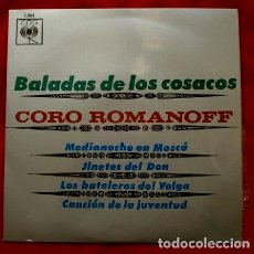 Discos de vinilo: CORO ROMANOFF (EP 1964) BALADAS DE LOS COSACOS (DISCO NUEVO -RARO-DIFICIL) IVAN ROMANOFF. Lote 109230387