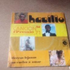 Discos de vinilo: BASILIO 1° PREMIO CANCIÓN TV, 71,TIERRAS LEJANAS, NO VUELVO A AMAR. Lote 109240648