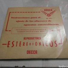 Discos de vinilo: INSTRUCCIONES PARA EL AJUSTE DE LOS ALTAVOCES DE APARATOS ESTEREOFONICOS- AIDA- DECCA 1961 ESPAÑA 6. Lote 109250739