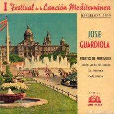 Discos de vinil: JOSE GUARDIOLA - FESTIVAL CANCION MEDITERRANEA, EP, FUENTES DE MONTJUICH + 3, AÑO 1959. Lote 109372123