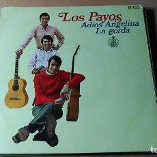 Discos de vinilo: CARATULA LOS PAYOS - ADIOS ANGELINA + LA GORDA. Lote 109393271