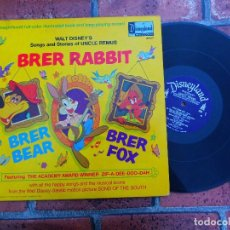 Discos de vinilo: WALT DISNEY'S / BRER RABBIT / SONG AND STORIES / DISNEYLAND RECORDS ORIGINAL USA 1970. Lote 109406419