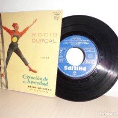 Discos de vinilo: ROCIO DURCAL CANTA CANCION DE JUVENTUS- BANDA ORIGINAL DE LA PELICULA-PHILIPS-AÑO 1962-BARCELONA . Lote 109429947