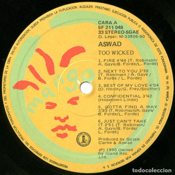 Discos de vinilo: Aswad – Too Wicked - Lp Spain 1990 - Island Records 211 048 - Foto 3 - 109566671