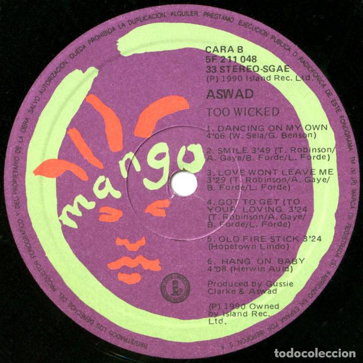 Discos de vinilo: Aswad – Too Wicked - Lp Spain 1990 - Island Records 211 048 - Foto 4 - 109566671