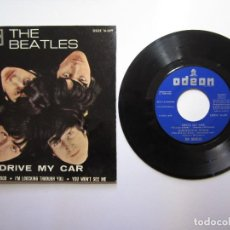 Discos de vinilo: THE BEATLES. DRIVE MY CAR. NORVEGIAN WOOD + 2. DSOE 19689 M 10399 1965 ODEON. Lote 109745355