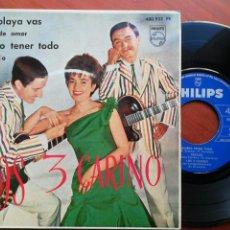 Discos de vinilo: LOS 3 CARINO EP A LA PLAYA VAS / CARTAS DE AMOR/QUIERO TENER TODO/ RECADO. Lote 110080564