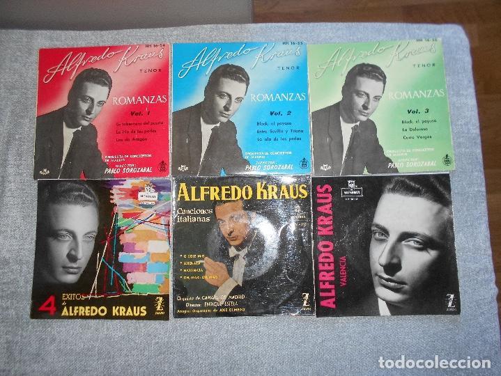 LOTE 6 DISCOS ALFREDO KRAUS VALENCIACANCIONES ITALIANAS EXITOS ROMANZAS 1 , 2 ,3 AÑOS 50 60 B.E. (Música - Discos de Vinilo - EPs - Clásica, Ópera, Zarzuela y Marchas)