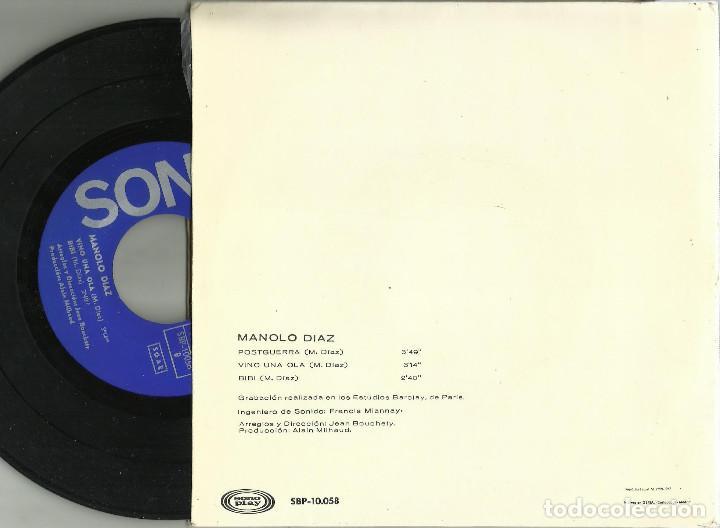 Discos de vinilo: Manolo Diaz - Postguerra, Vini una ola, Bibi - EP 2ª Edición - Sono Play SBP-10.058 - 1967 - Foto 3 - 110422263