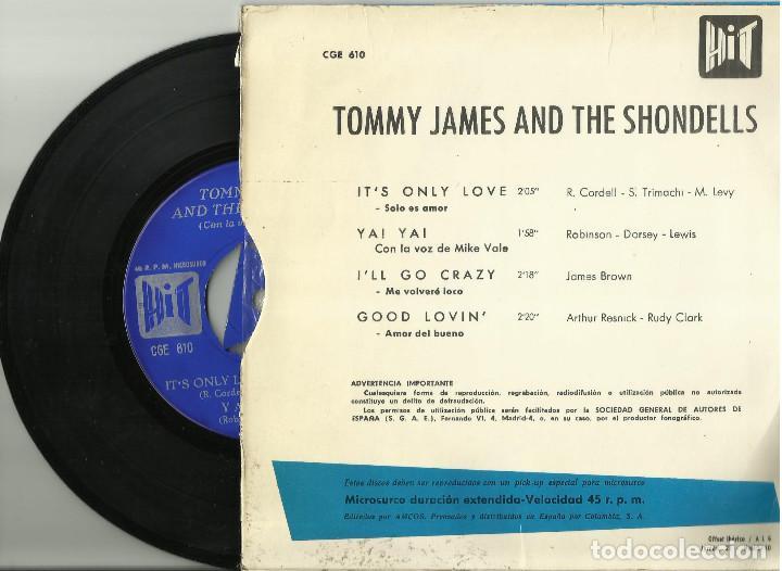 Discos de vinilo: Tommy James & the Shondells - Its only love + 3 - EP - HIT CGE 610 - 1966 - Foto 2 - 110448299