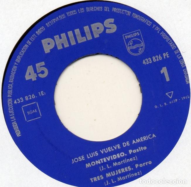 Discos de vinilo: JOSE LUIS, EP, MONTEVIDEO + 3, AÑO 1962 - Foto 3 - 110532899